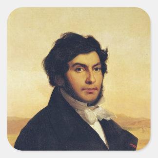 Retrato de Jean-Francois Champollion 1831 Pegatina Cuadrada