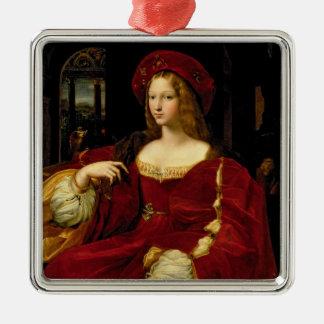 Retrato de Jeanne de la esposa de Aragón Adorno Navideño Cuadrado De Metal