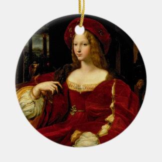 Retrato de Jeanne de la esposa de Aragón Adorno Navideño Redondo De Cerámica
