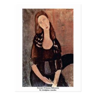 Retrato de Jeanne Hébuterne de Modigliani Amedeo Tarjeta Postal
