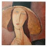 Retrato de Jeanne Hebuterne en un gorra grande Teja Cerámica