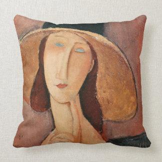 Retrato de Jeanne Hebuterne en un gorra grande Almohadas
