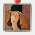 Retrato de Jeanne Hebuterne en un gorra grande Ornamento Para Reyes Magos