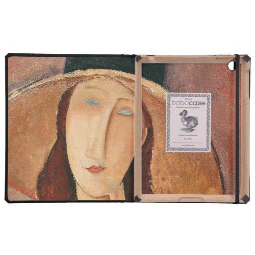 Retrato de Jeanne Hebuterne en un gorra grande iPad Coberturas