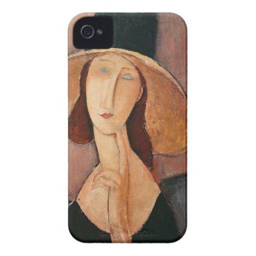 Retrato de Jeanne Hebuterne en un gorra grande iPhone 4 Case-Mate Cárcasas
