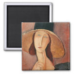Retrato de Jeanne Hebuterne en un gorra grande Imán Cuadrado