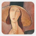 Retrato de Jeanne Hebuterne en un gorra grande Pegatina Cuadrada
