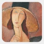 Retrato de Jeanne Hebuterne en un gorra grande Calcomanías Cuadradass Personalizadas