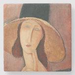 Retrato de Jeanne Hebuterne en un gorra grande Posavasos De Piedra
