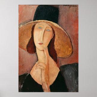Retrato de Jeanne Hebuterne en un gorra grande Póster