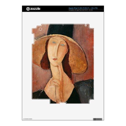 Retrato de Jeanne Hebuterne en un gorra grande iPad 3 Pegatinas Skins