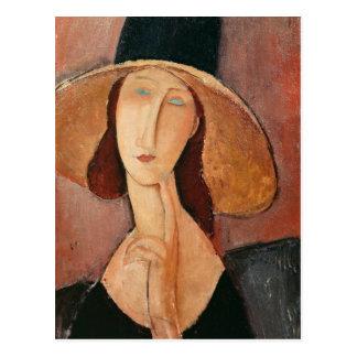 Retrato de Jeanne Hebuterne en un gorra grande Tarjeta Postal