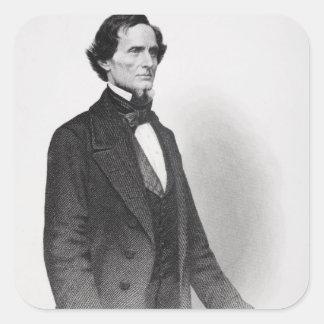 Retrato de Jefferson Davis Calcomanías Cuadradass