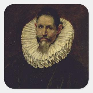 Retrato de Jeronimo de Cevallos, c.1610 Pegatina Cuadrada