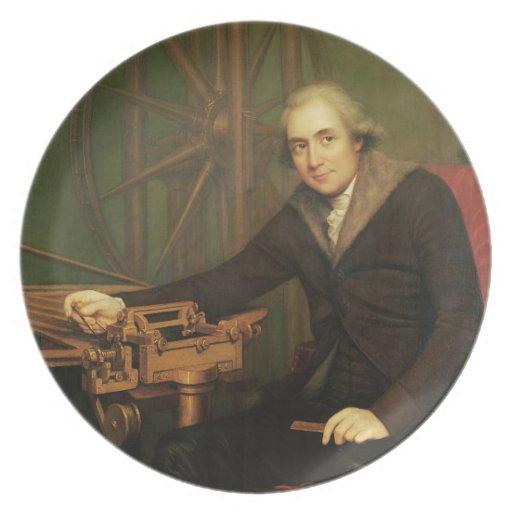 Retrato de Jesse Ramsden (1735-1800) (aceite en ca Plato De Comida