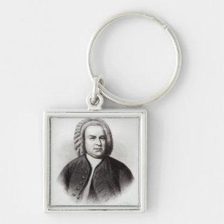 Retrato de Johann Sebastian Bach Llavero Cuadrado Plateado