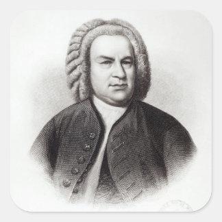 Retrato de Johann Sebastian Bach Pegatina Cuadrada
