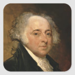 Retrato de John Adams Pegatina Cuadrada