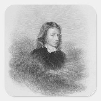 Retrato de John Milton (1608-74) grabado por Pegatina Cuadrada