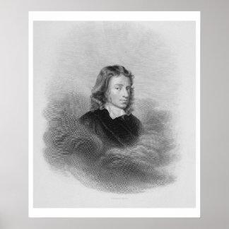 Retrato de John Milton (1608-74) grabado por Póster