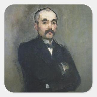 Retrato de Jorte Clemenceau 1879 Pegatina Cuadrada