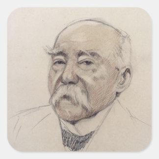 Retrato de Jorte Clemenceau Pegatina Cuadrada