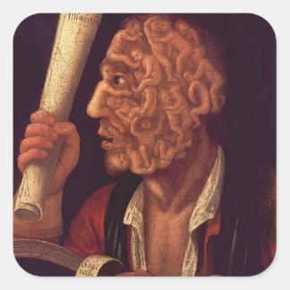 Retrato de José Arcimboldo- de Adán Calcomanía Cuadrada Personalizada