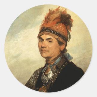 Retrato de Joseph Brant de Gilbert Estuardo Pegatina Redonda