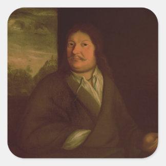 Retrato de Juan Ambrosius Bach, 1685 Pegatina Cuadrada