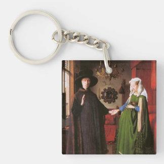 Retrato de Juan Arnolfini y su esposa Llavero Cuadrado Acrílico A Doble Cara