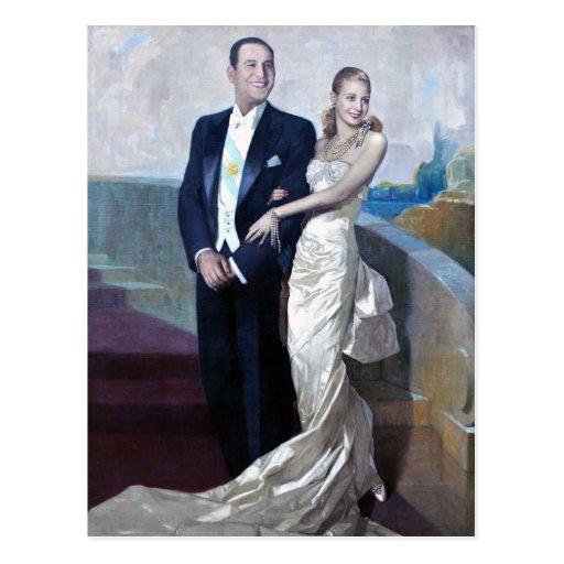 Retrato de Juan Domingo Perón y de Eva Duarte Tarjeta Postal