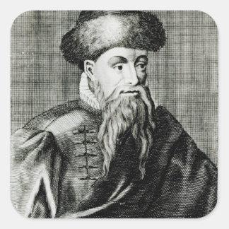 Retrato de Juan Gutenberg Pegatina Cuadrada