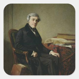 Retrato de Jules Michelet Pegatina Cuadrada