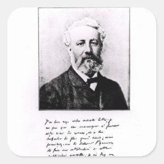 Retrato de Jules Verne Calcomanías Cuadradass Personalizadas