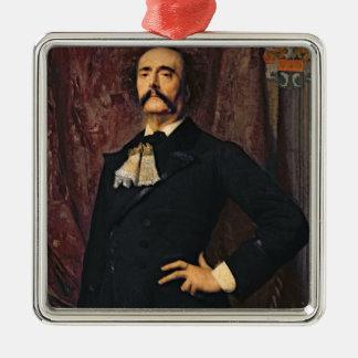 Retrato de Julio Barbey d'Aurevilly 1881 Adorno Navideño Cuadrado De Metal