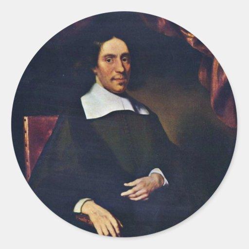 Retrato de Justus Criex de Maes Nicolaes Pegatina Redonda