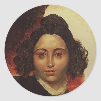 Retrato de Karl Bryullov- de baronesa I.I. Klodt Pegatinas Redondas