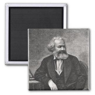 Retrato de Karl Marx 1857 Imán Cuadrado