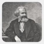 Retrato de Karl Marx 1857 Calcomanías Cuadradass Personalizadas