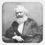 Retrato de Karl Marx Pegatina Cuadrada