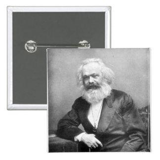 Retrato de Karl Marx Pin Cuadrado