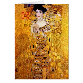 Retrato de Klimt del coche de saludo de Adela Bloc Tarjeta De Felicitación