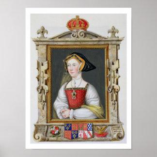 Retrato de la 3ro reina de Jane Seymour (c.1509-37 Póster