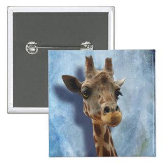 Retrato de la bella arte de la jirafa de Heshimu Pin Cuadrada 5 Cm
