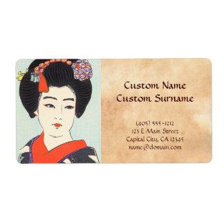 Retrato de la bella arte del japonés de Maiko Shun Etiqueta De Envío