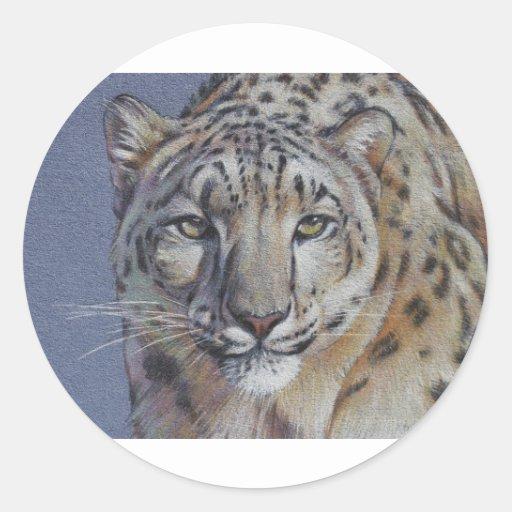 Retrato de la cabeza del tigre pegatina redonda