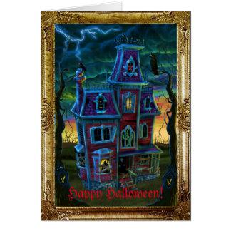 Retrato de la casa encantada tarjeta de felicitación