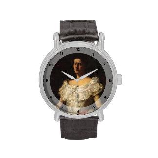 Retrato de la caza de Guillermo de una señora con  Reloj