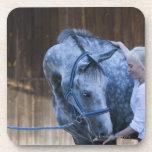 retrato de la chica joven que sostiene el caballo posavasos de bebida