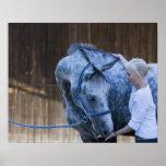 retrato de la chica joven que sostiene el caballo póster
